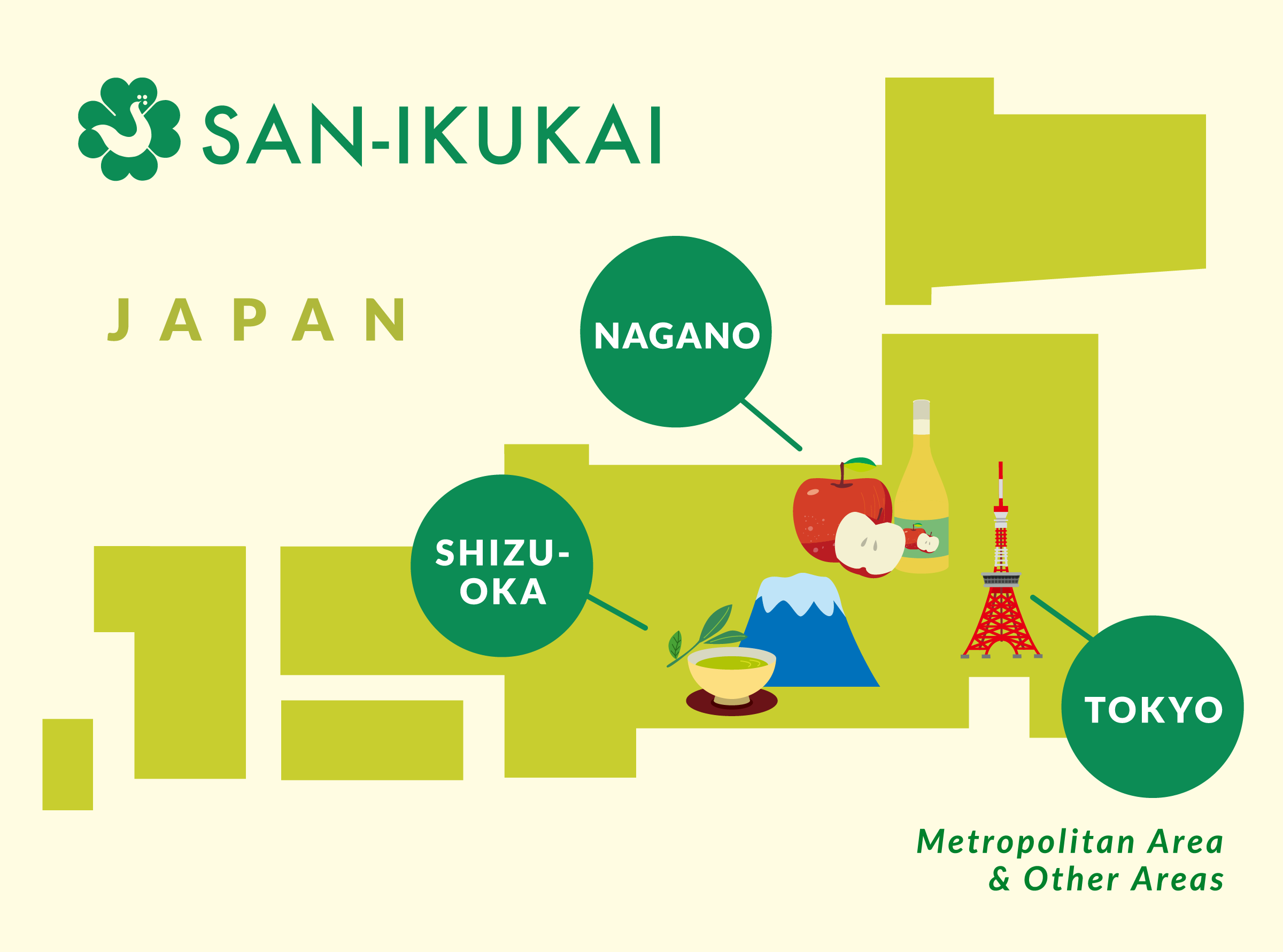 Map of San-ikukai offices in Japan